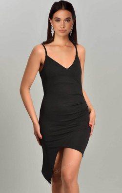 Siyah Asimetrik Kesim Askılı Mini Elbise