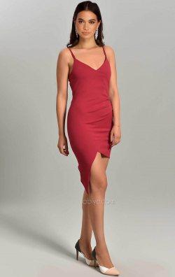Bordo Asimetrik Kesim Askılı Mini Elbise