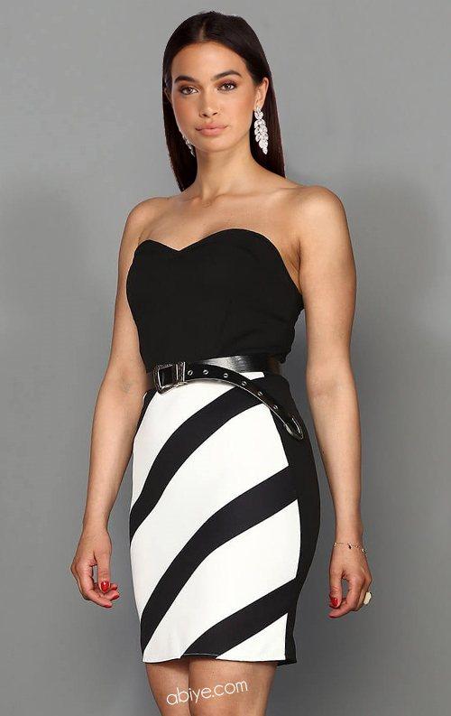 Siyah Beyaz Kemerli Straplez Mini Elbise