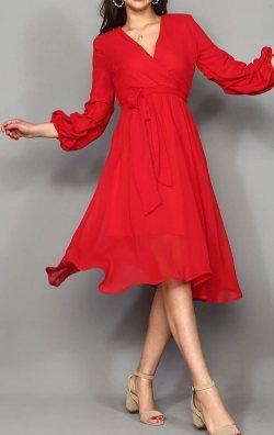Kırmızı Şifon Büzgülü Kol Midi Abiye