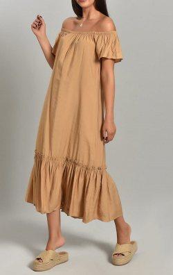 Bej Keten Uzun Elbise