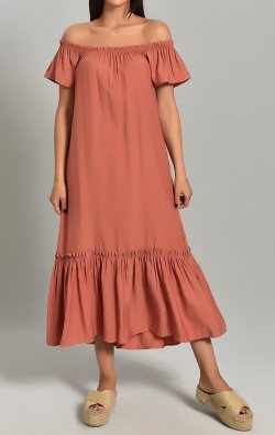 Kiremit Keten Uzun Elbise