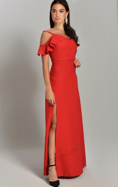 Kırmızı Kol Detaylı Yırtmaçlı Abiye Elbise