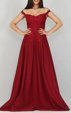 Bordo Güpür Detay Uzun Abiye Elbise