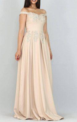 Vizon Güpür Detay Uzun Abiye Elbise