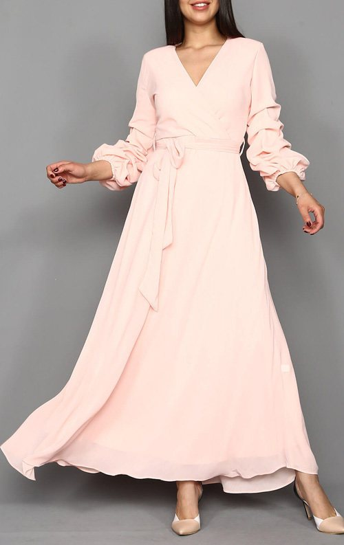 Pudra Şifon Uzun Abiye Elbise