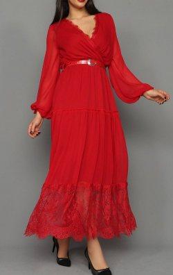 Şifon Dantel Detay Kemerli Kırmızı Abiye Elbise