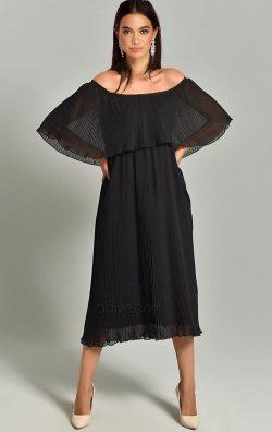 Siyah Kayık Yaka Piliseli Şifon Midi Abiye Elbise