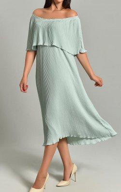 Mint Yeşili Kayık Yaka Piliseli Şifon Midi Abiye Elbise