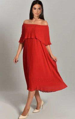 Bordo Kayık Yaka Piliseli Şifon Midi Abiye Elbise