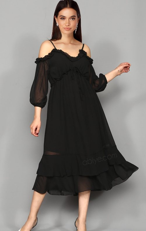 Siyah Askılı Şifon Midi Abiye Elbise
