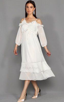 Beyaz Askılı Şifon Midi Abiye Elbise