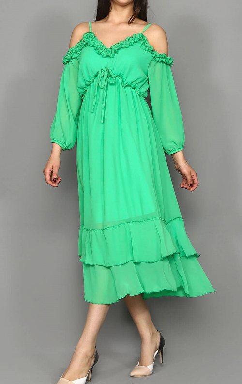 Yeşil Askılı Şifon Midi Abiye Elbise