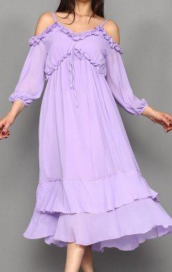 Mor Askılı Şifon Midi Abiye Elbise