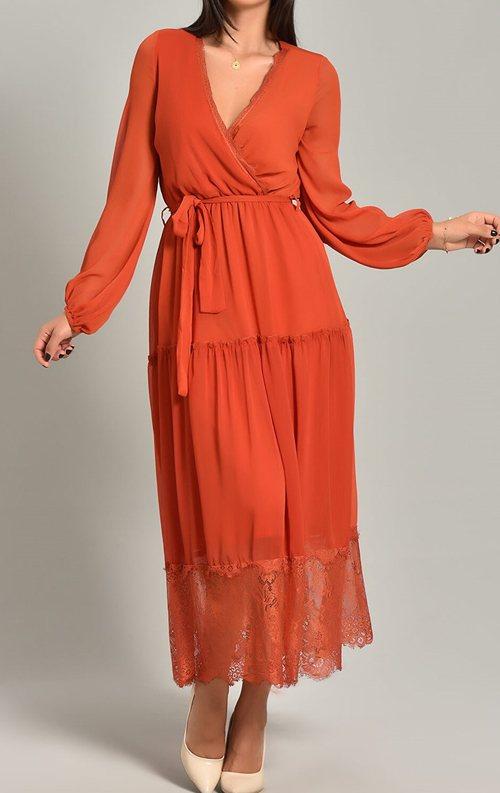 Kiremit Şifon Dantel Detay Uzun Abiye Elbise