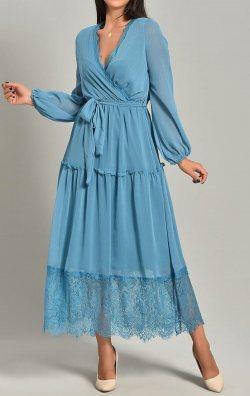 Mavi Şifon Dantel Detay Uzun Abiye Elbise