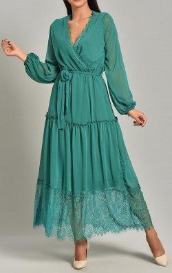 Yeşil Şifon Dantel Detay Uzun Abiye Elbise