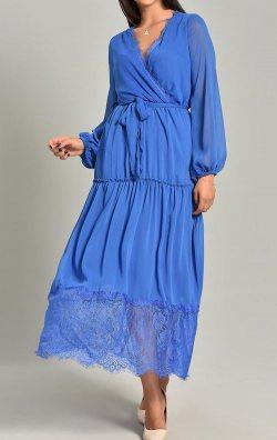 Saks Şifon Dantel Detay Uzun Abiye Elbise