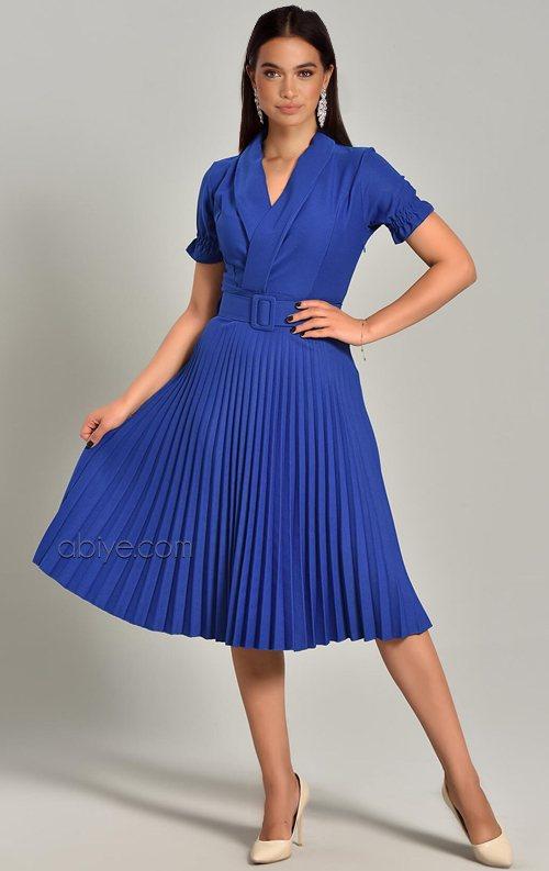 Saks Piliseli Kemer Detay Midi Abiye Elbise