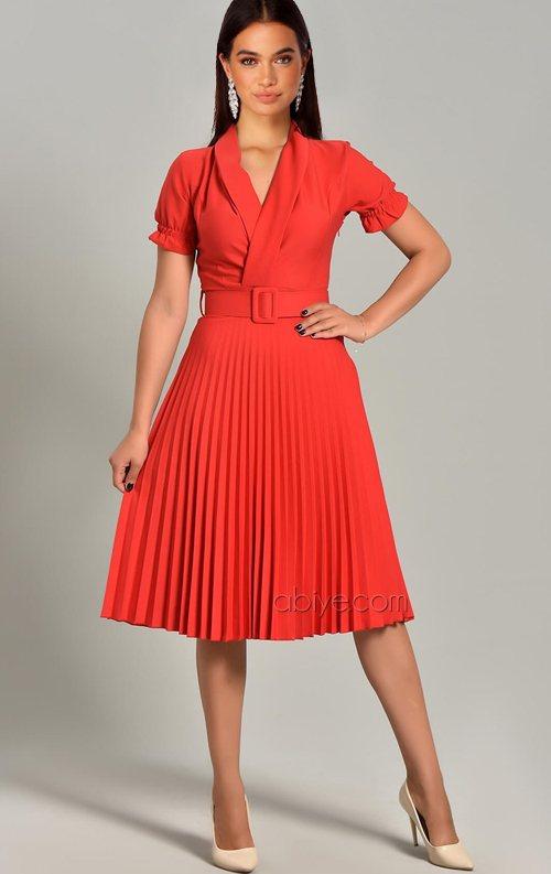 Kırmızı Piliseli Kemer Detay Midi Abiye Elbise