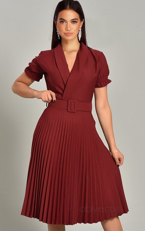 Bordo Piliseli Kemer Detay Midi Abiye Elbise