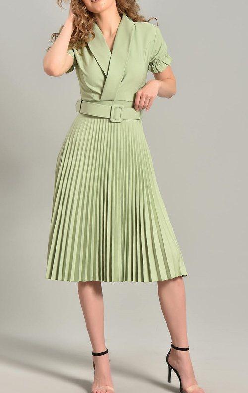 Yeşil Piliseli Kemer Detay Midi Abiye Elbise