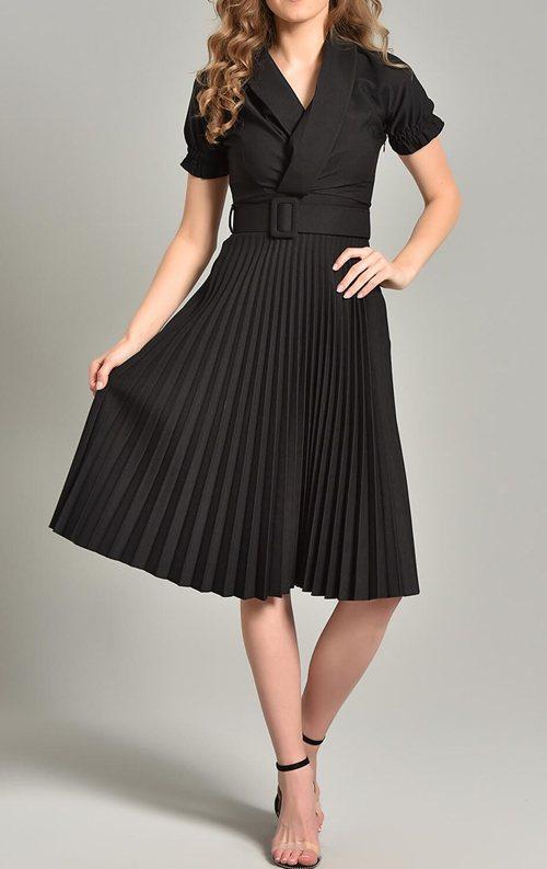 Siyah Piliseli Kemer Detay Midi Abiye Elbise