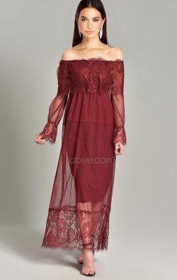Bordo Tül Dantel Tasarım Uzun Abiye Elbise