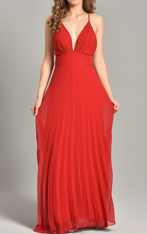 Kırmızı Çapraz Askı Şifon Abiye Elbise