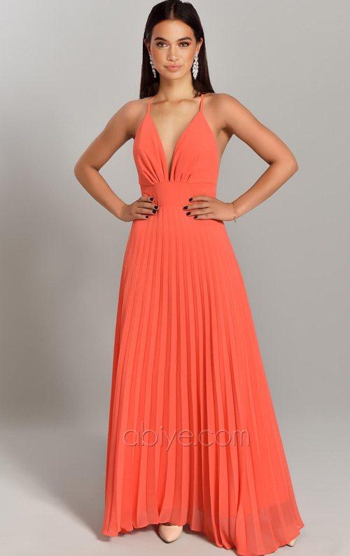 Turuncu Çapraz Askı Şifon Abiye Elbise