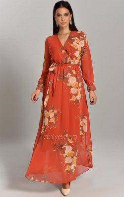 Turuncu Çiçek Desen Uzun Şifon Abiye Elbise