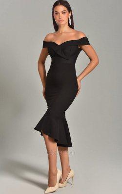 Siyah Eteği Volanlı Kayık Yaka Midi Abiye Elbise