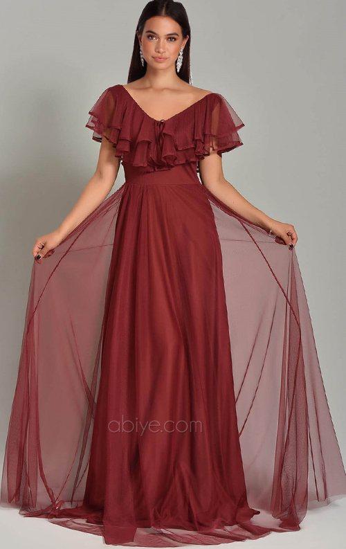 Bordo Tasarım Tül Detay Uzun Abiye Elbise