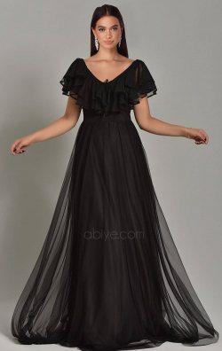 Siyah Tül Detay Uzun Abiye Elbise