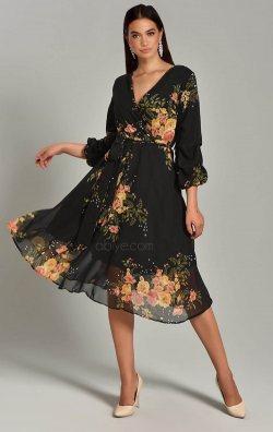Siyah Çiçek Desenli Şifon Midi Abiye Elbise
