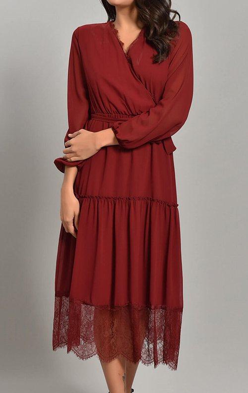 Bordo Şifon Güpür Detay Abiye Elbise