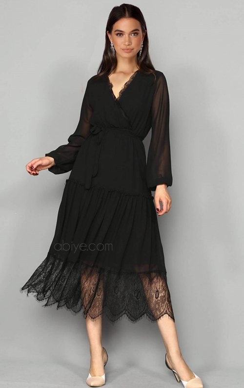 Siyah Şifon Güpür Detay Abiye Elbise