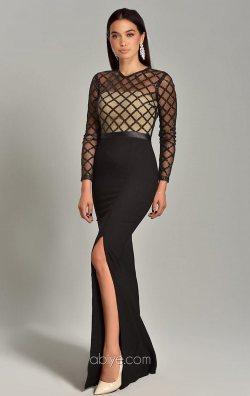 Siyah Şerit Payet Tasarım Balık Abiye Elbise