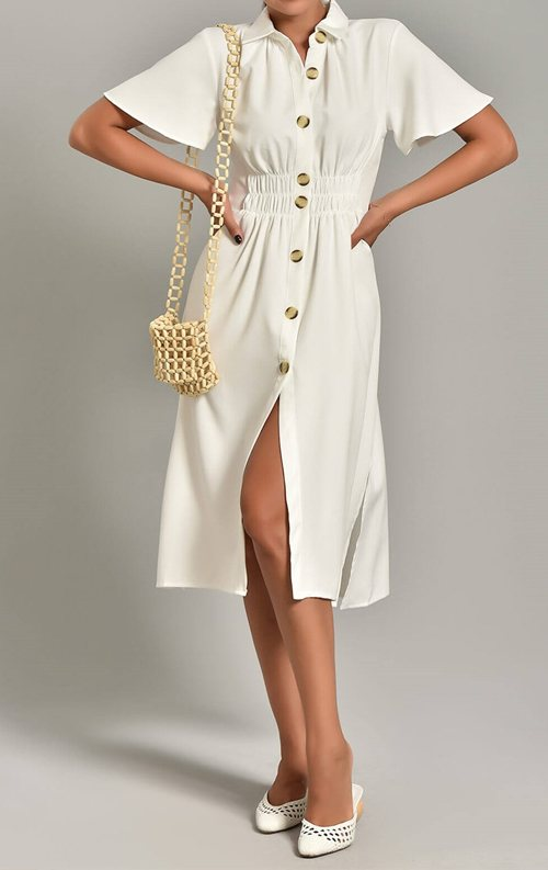 Beyaz Düğme Detay Midi Gömlek Elbise