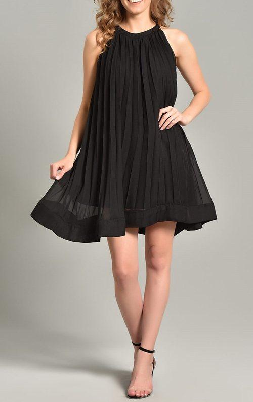 Siyah Pileli Kısa Şifon Abiye Elbise