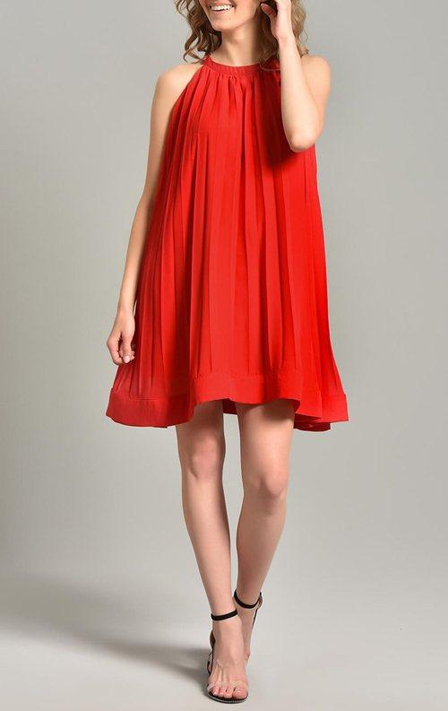 Kırmızı Pileli Kısa Şifon Abiye Elbise