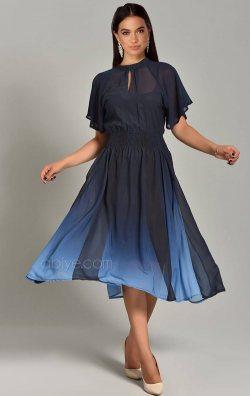 Lacivert Kloş Midi Şifon Abiye Elbise