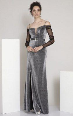 Örme Uzun Kollu Gri Askılı Abiye Elbise