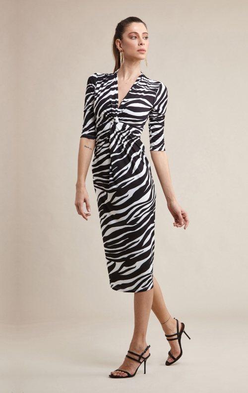 Zebra Desenli Fakir Kol Midi Abiye Elbise