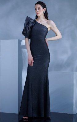 Siyah Tek Kol Uzun Balık Abiye Elbise