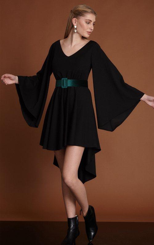 Siyah Sırt Dekolteli Asimetrik Kısa Abiye Elbise
