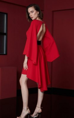 Kırmızı Sırt Dekolteli Asimetrik Kısa Abiye Elbise