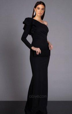 Siyah Tek Omuz Uzun Balık Abiye Elbise