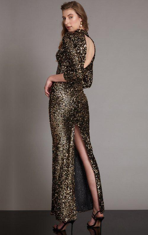 Gold Yırtmaçlı Uzun Kollu Pul Payet Balık Abiye Elbise