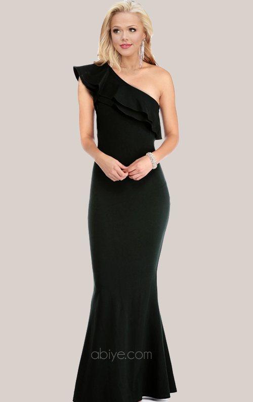 Siyah Çapraz Volanlı Uzun Balık Abiye Elbise
